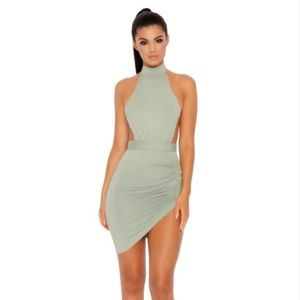 Oh Polly Ruched And Ready Halter Neck Mini Dress